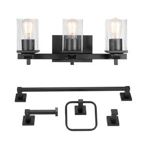 Luminaire et accessoires pour salle de bain Dakota de Globe Electric tout-en-un, noir mat, ens. de 5
