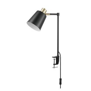 "Globe Electric Lex 19"" Black and Gold Clamp-On Desk Lamp"