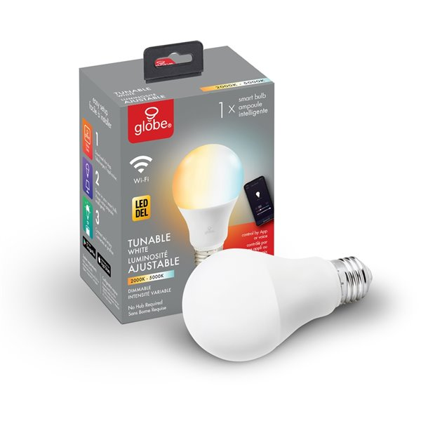 Globe Electric Wi-Fi Smart 60W Equivalent Tunable White Dimmable Frosted LED Light Bulb