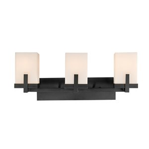 Globe Electric Helena 3-Light Vanity Light Dark Bronze with Frosted Glass Shades