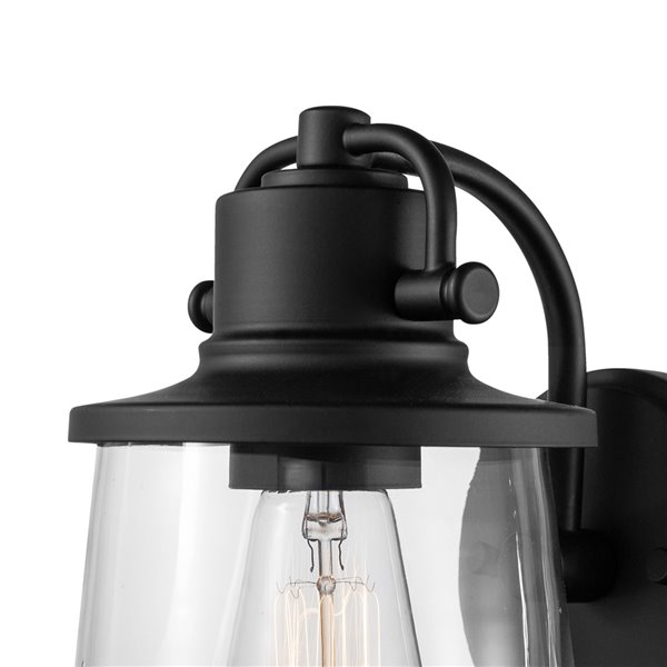 Globe Electric Charlie 1-Light Outdoor Wall Sconce LED Bulb Included - Matte Black