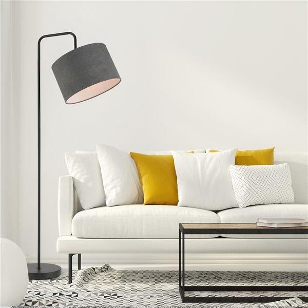 Globe Electric Barden Floor Lamp with Dark Gray Velvet Shade - 58-in - Black