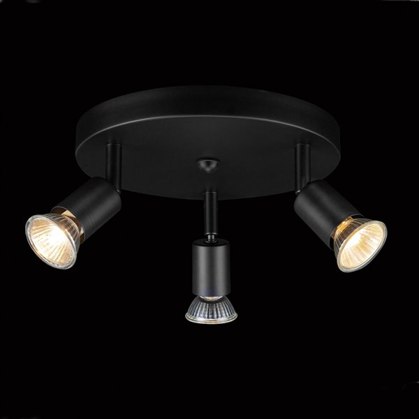 Globe Electric Payton 3-Light Track Lighting Canopy with Pivoting Track Heads - Black