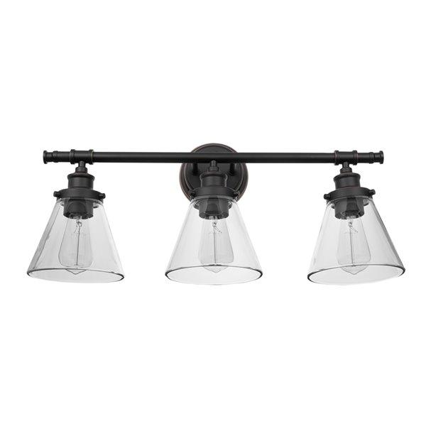 Luminaire de vanité Parker de Globe Electric à 3 lumières, bronze avec abat-jours en verre transparent