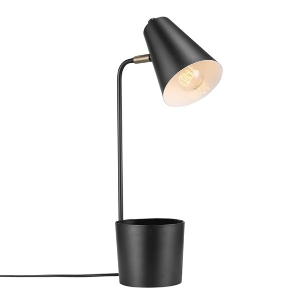Lampe de bureau de 18 po Taylor en couleur noir mat avec organisateur