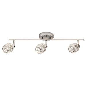 Ensemble de 3 mini-luminaires sur rail Sienna de Globe Electric, chrome et abat-jours perlés