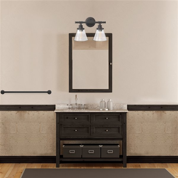Globe Electric Parker 2-Light Vanity Light Oil Rubbed Bronze with Clear Glass Shades