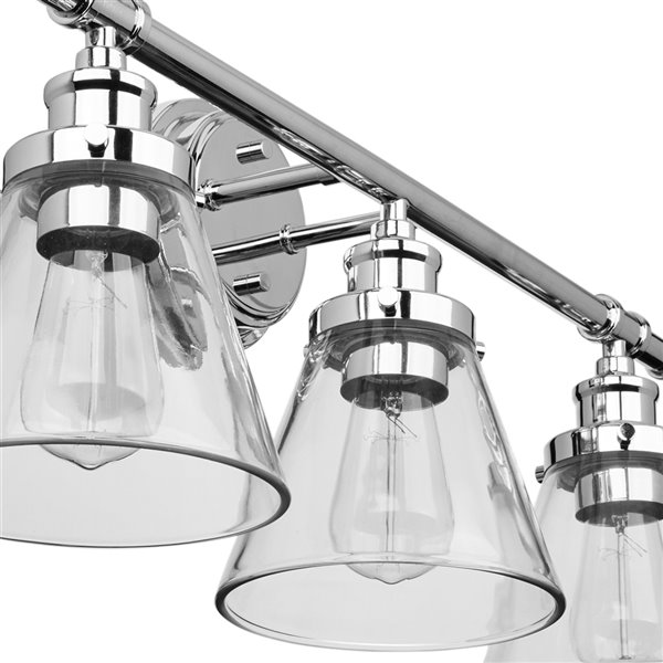 Globe Electric Parker 3-Light Vanity Light Chrome with Clear Glass Shades
