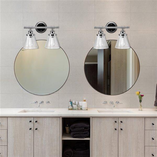 Luminaire de vanité Parker de Globe Electric à 2 lumières, chrome et abat-jours en verre transparent