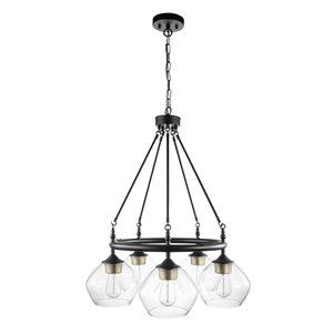 Globe Electric Harrow 5-Light Chandelier Matte Black - Gold Accent Sockets - Clear Glass Shades