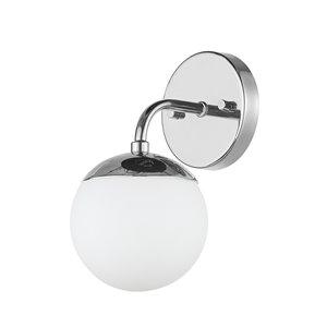 Luminaire de vanité Vega de Globe Electric à 1 lumière, chrome avec abat-jour en verre givré