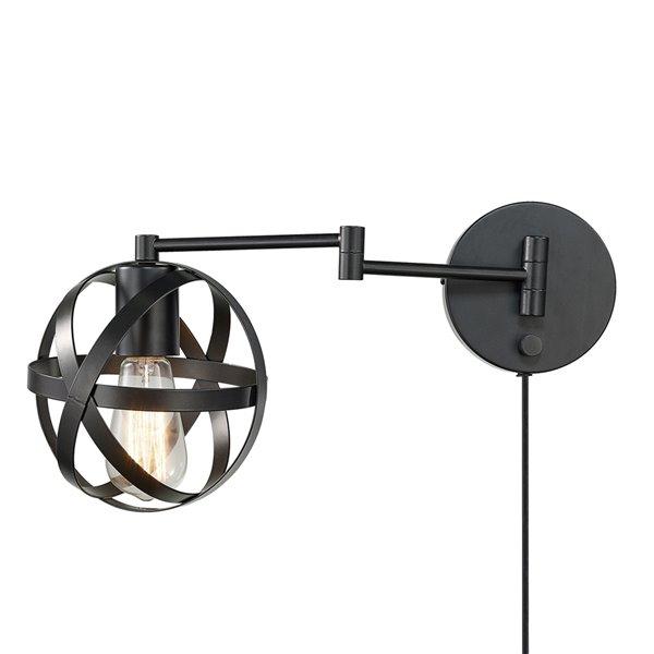Applique murale Tatum de Globe Electric enfichable ou câblée à 1 lumière, bronze foncé