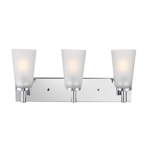 Globe Electric Alyssa 3-Light Vanity Light Chrome with Frosted Glass Shades