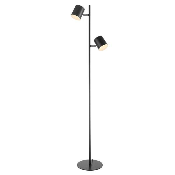 Lampe sur pied Banner de Globe Electric intégrée à 2 lumières DEL noir mat, 55 po