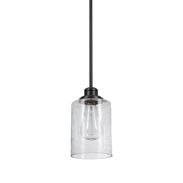 Luminaire suspendu Annecy de Globe Electric à 1 lumière, bronze foncé et abat-jour en verre