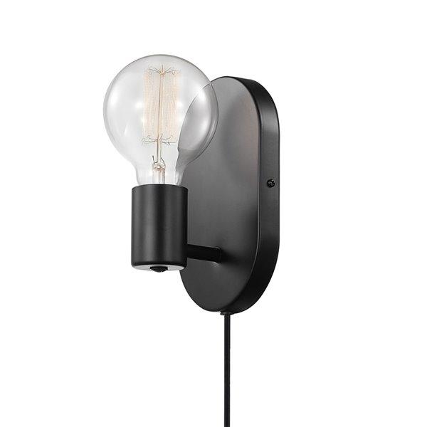 Applique murale Linus de Globe Electric enfichable ou câblée à 1 lumière, noir mat