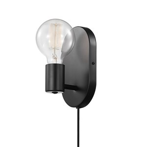 Globe Electric Novogratz x Globe Linus 1-Light Plug-In or Hardwire Wall Sconce - Matte Black