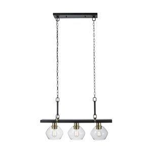 Globe Electric Harrow 3-Light Pendant Light  Matte Black with Gold Accent and Clear Glass Shades