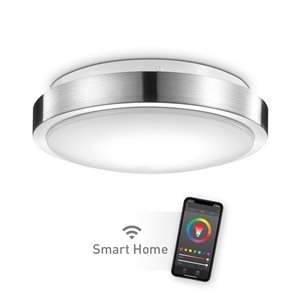 "Globe Electric Wi-Fi Smart 11"" Brushed Nickel Flush Mount Ceiling Light, 16 Watts"