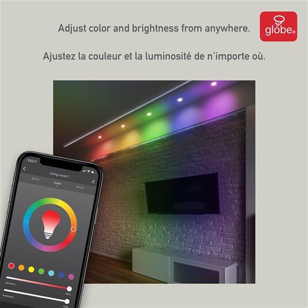Ensemble d'éclairage Globe Electric encastré Wi-Fi intelligent ultra-mince à DEL, 4 po