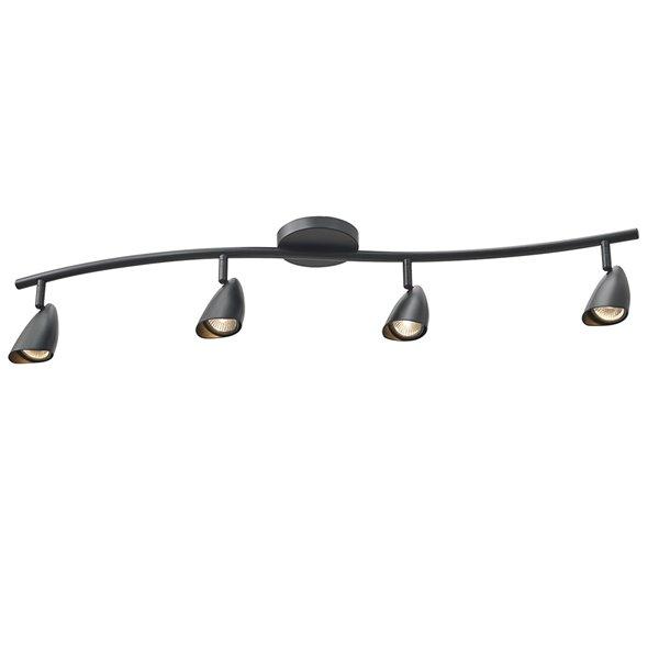 Rail d'éclairage Grayson de Globe Electric à 4 lumières, fini noir mat