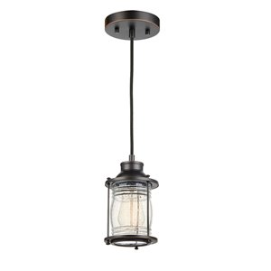 Globe Electric Bayfield 1-Light Plug-In or Hardwire Pendant Light Dark Bronze with Glass Shade