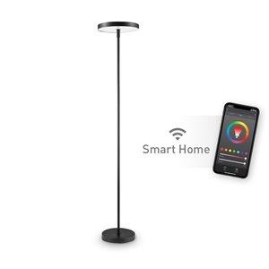 Lampe sur pied intelligente Globe Electric Wi-Fi, fini satiné noir