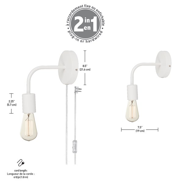 Globe Electric Novogratz x Globe Walter 1-Light Plug-in or Hardwire Wall Sconce - Matte White