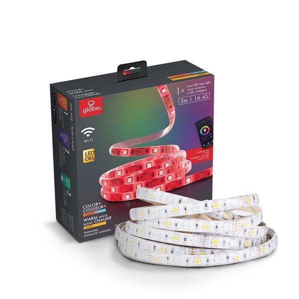 Bande lumineuse à DEL de Globe Electric enfichable à intensité variable de couleur changeante, 16,4 pi