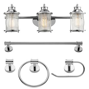 Luminaire et accessoires pour salle de bain Bayfield de Globe Electric tout-en-un, chrome, ens. de 5