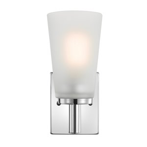 Globe Electric Alyssa 1-Light Wall Sconce with Frosted Glass Shade - Chrome