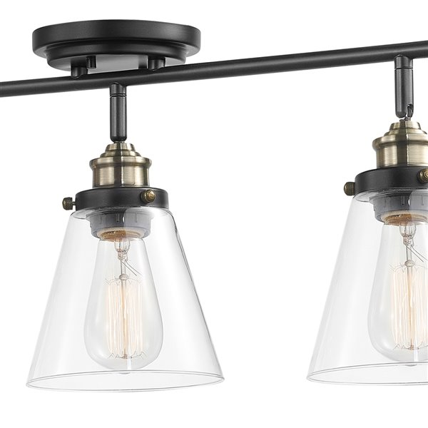 Globe Electric Jackson 3-Light Track Lighting - Dark Bronze with Antique Brass Accents