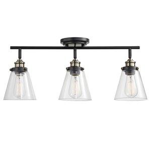 Rail d'éclairage Jackson de Globe Electric à 3 lumières, bronze foncé et accents en laiton antique