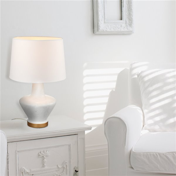 Globe Electric Serena Table Lamp with White Fabric Shade White Stone Finish - 18-in