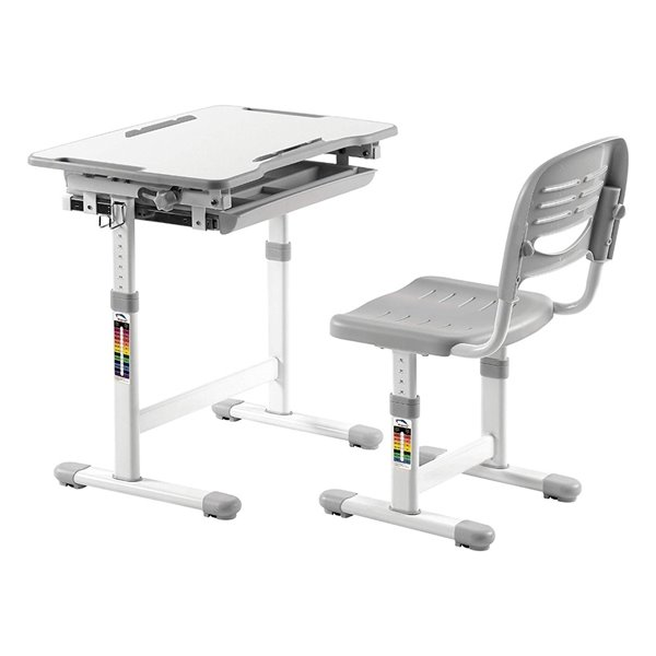 TygerClaw Height Adjustable Childrens Desk with Storage - 38.6-in x 37.8-in - Gray