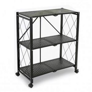 TygerClaw 3-Shelf Folding Mobile Shelving Unit - Steel - 33.9-in x 28-in - Black