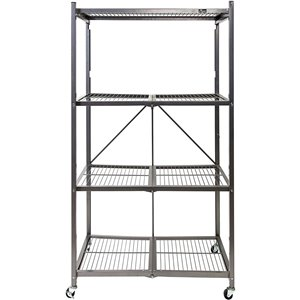 TygerClaw 4-Shelf Foldable Storage Unit - 28-in x 47.2-in - Black