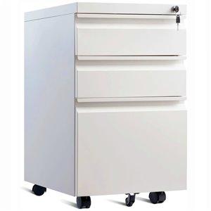 Classeur mobile à roulettes à 3 tiroirs de TygerClaw avec serrure, 15,6 po x 19,7 po, blanc