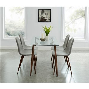 Worldwide Homefurnishings Contemporary Dining Set - Gray/Silver - 5 Pieces