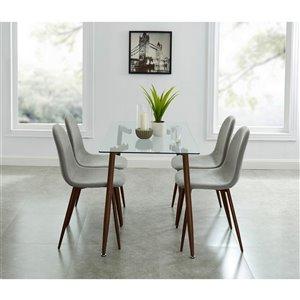 Ens. de salle à manger contemporain de Worldwide Homefurnishings, gris/argent, 5 pièces