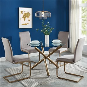 Worldwide Homefurnishings Contemporary Dining Set with Glass Table/Gold Legs - Gray/Silver - 5 Pcs
