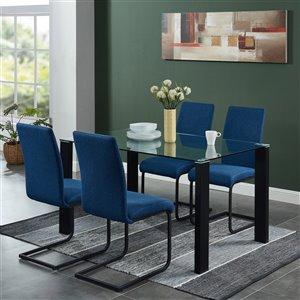 Ens. de salle à manger contemporain avec table en verre de Worldwide Homefurnishings, bleu, 5 pièces