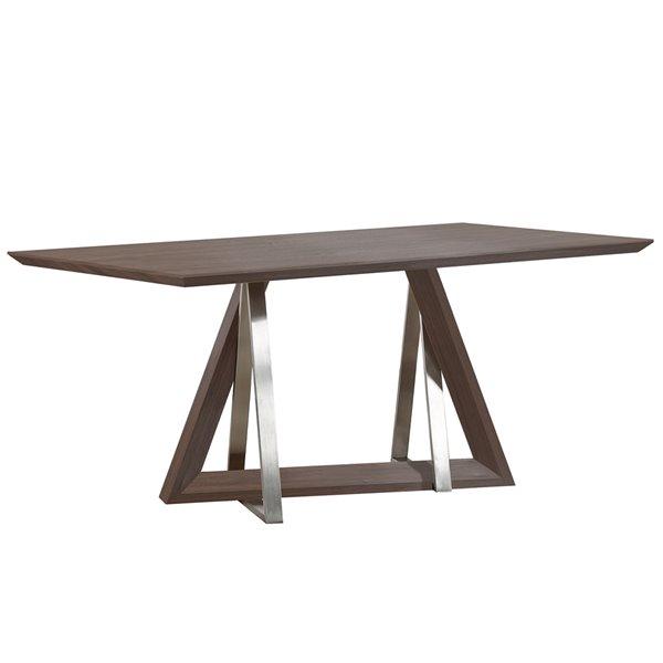 Ens. de salle à manger contemporain avec table en noyer de Worldwide Homefurnishings, argent/gris, 7 pièces