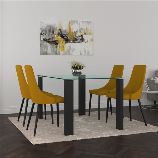 Worldwide Homefurnishings Contemporary Dining Set with Glass Table - Yellow/Gold - 5 Pcs