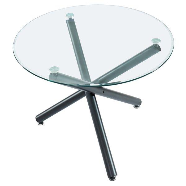 Ens. de salle à manger contemporain avec table en verre de Worldwide Homefurnishings, beige/crème/amande, 5 pièces