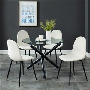 Worldwide Homefurnishings Contemporary Dining Set with Glass Table - Beige/Cream/Almond - 5 Pcs