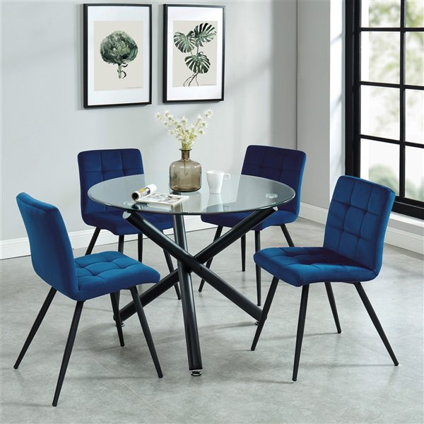 Worldwide Homefurnishings Contemporary Dining Set with Glass Table - Blue - 5 Pcs