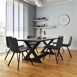 Worldwide Homefurnishings Industrial Chic Dining Set with Black Table - Gray/Silver - 7 Pcs