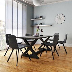 Ens. de salle à manger moderne rutique avec table noire de Worldwide Homefurnishings, gris/argent, 7 pièces