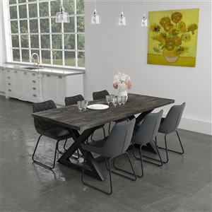 Worldwide Homefurnishings Industrial Chic Dining Set with Black Table - Gray/Silver - 7 Pcs.